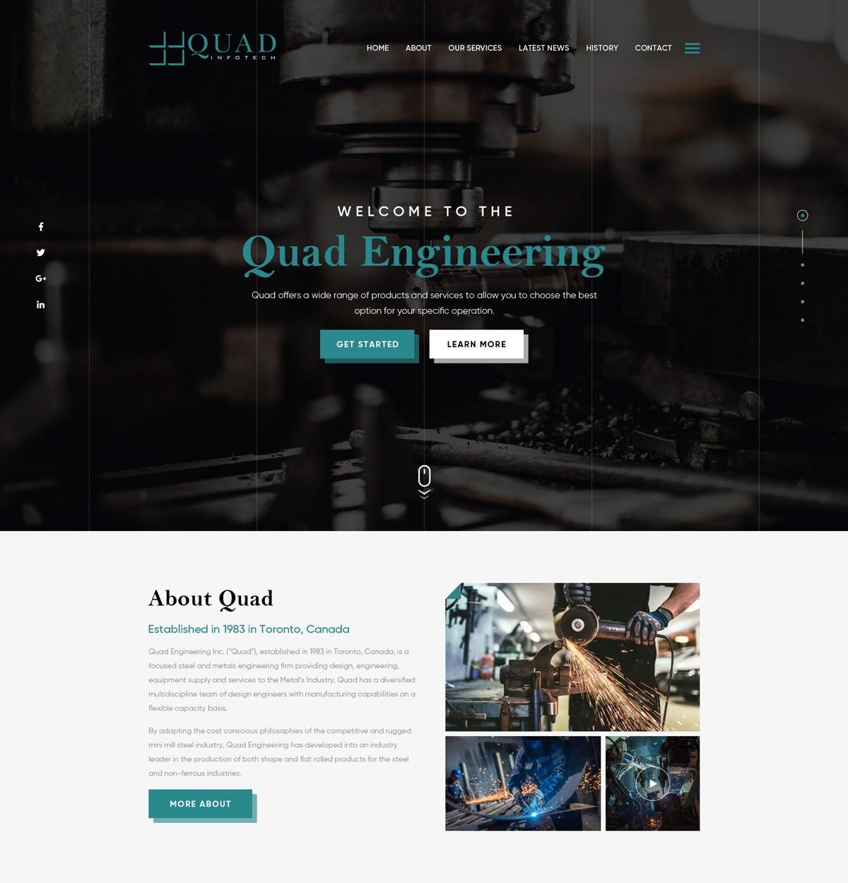 web design mockup for quad