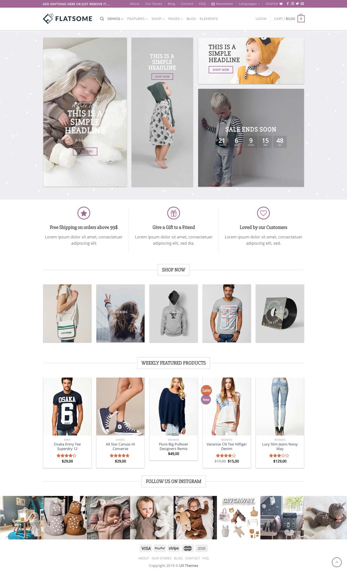 ecommerce modern website design sample