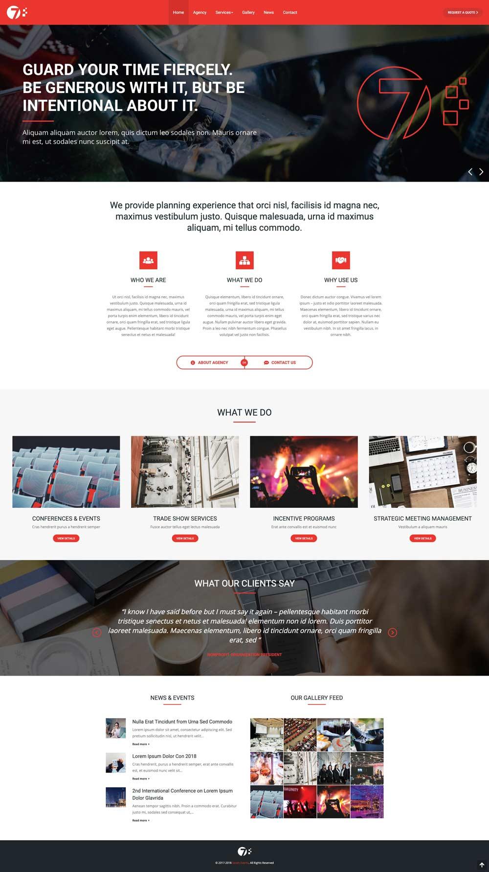 full page website design sample