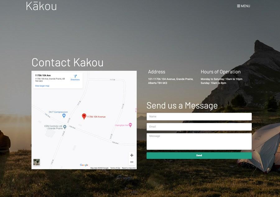 Kakou contact page design